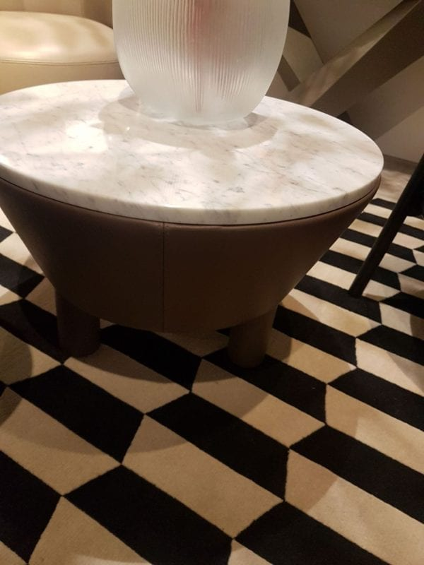 marble and leather side table